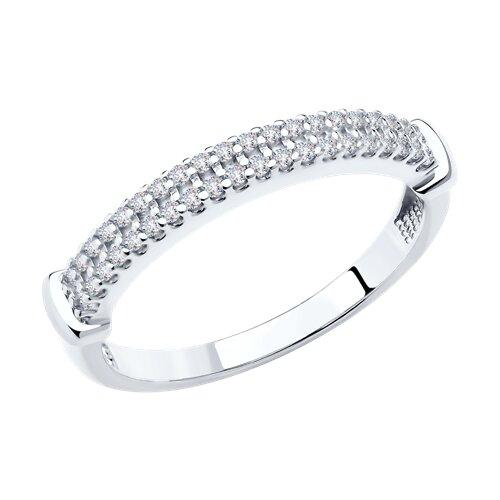 Кольцо из серебра с фианитами (94011573) - фото