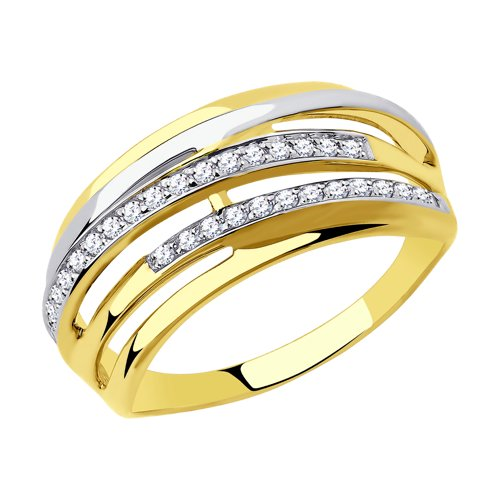 Кольцо из желтого золота с фианитами (018306-2) - фото