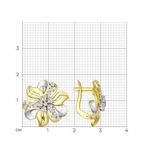 Серьги из комбинированного золота с фианитами (027587-2) - фото №2