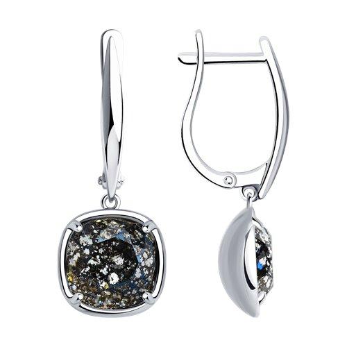Серьги из серебра с чёрными кристаллами Swarovski (94022223) - фото