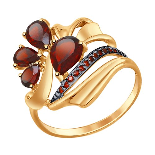 Кольцо из золота с гранатами и фианитами (37714760) - фото