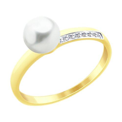 Кольцо из желтого золота с жемчугом и фианитами (791056-2) - фото