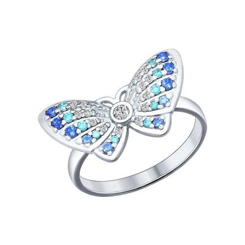 Кольцо из серебра с синими и зелеными фианитами (94012027) - фото