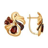 Серьги из золота с гранатами и коричневыми и красными фианитами