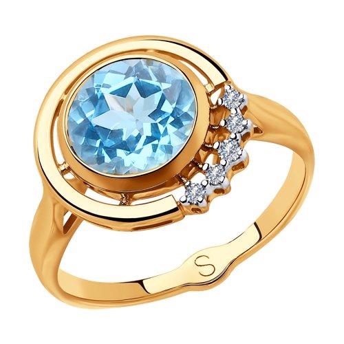 Кольцо из золота с бриллиантами и топазом (6014107) - фото