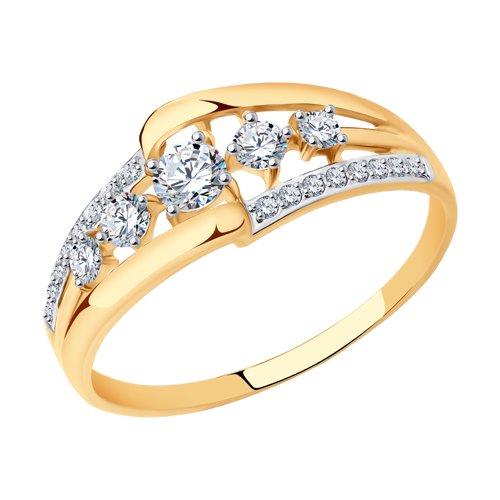 Кольцо из золота с фианитами (017638) - фото