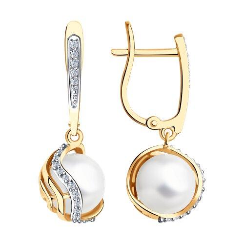 Серьги из золота с бриллиантами и жемчугом (8020077) - фото