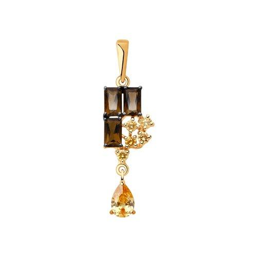 Подвеска из золота с раухтопазами и фианитами (731934) - фото
