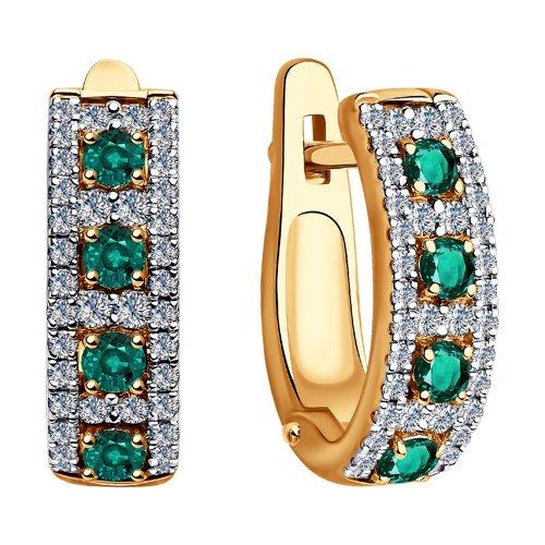 Серьги из золота с бриллиантами и изумрудами (3020438) - фото №2