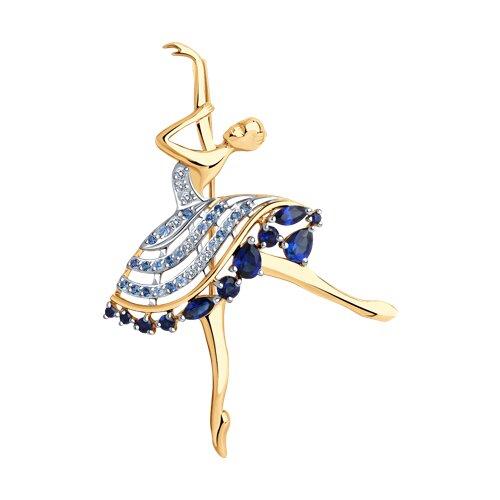 """Брошь """"Балерина"""" из золота с корундами и фианитами 740341 sokolov фото"""