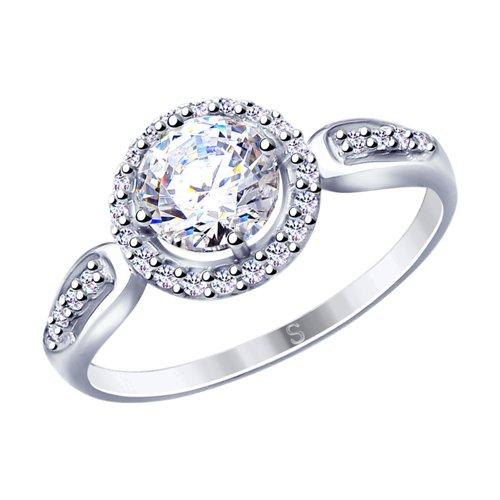 Кольцо из серебра с фианитами (94012866) - фото