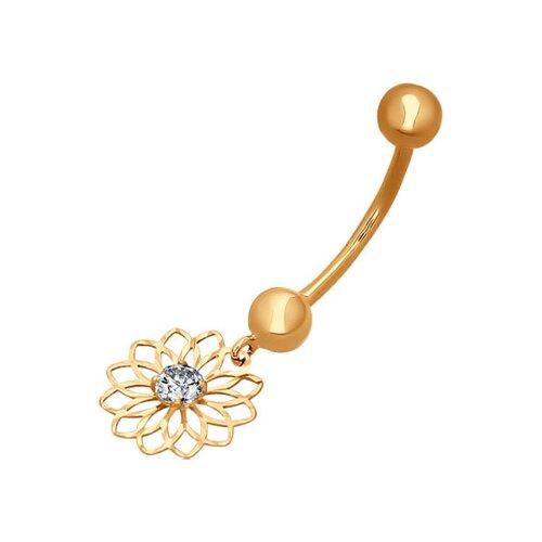 Пирсинг в пупок из золота с алмазной гранью с фианитом