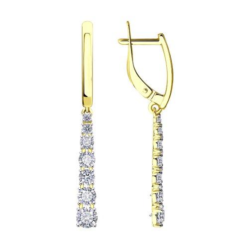 Серьги из желтого золота с фианитами (027490-2) - фото