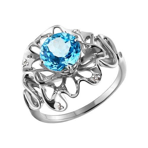 Ажурное кольцо с топазом SOKOLOV ажурное кольцо с крупным голубым топазом sokolov