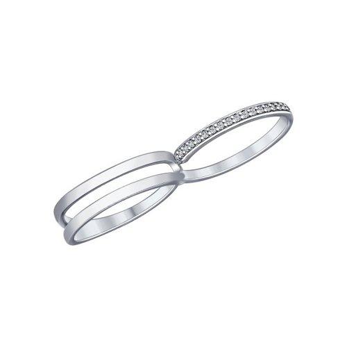 Кольцо на два пальца из серебра с фианитами (94012015) - фото