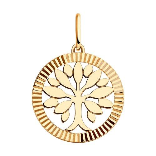 Подвеска из золота с алмазной гранью (035677) - фото