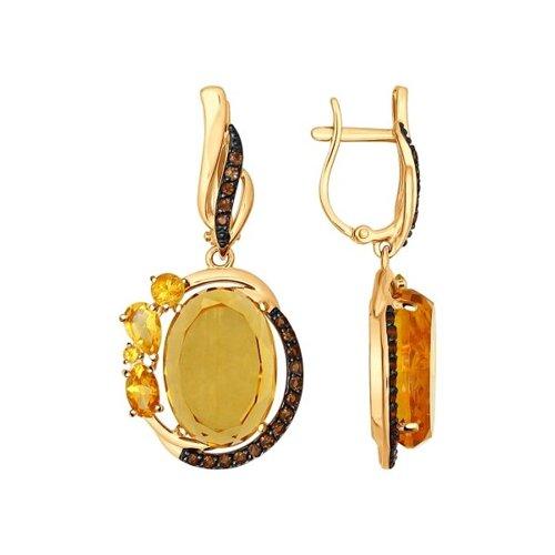 Серьги из золота с полудрагоценными вставками