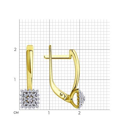 Серьги из желтого золота с бриллиантами 1021488-2 SOKOLOV фото 2