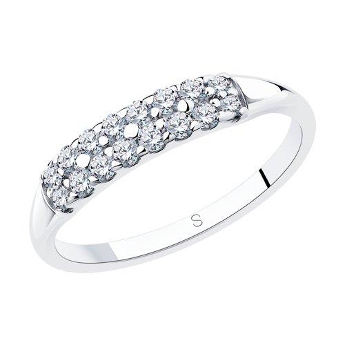 Кольцо из серебра с фианитами (94011716) - фото