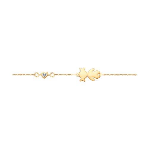 цена Золотой браслет с бриллиантом «Дочка» SOKOLOV онлайн в 2017 году