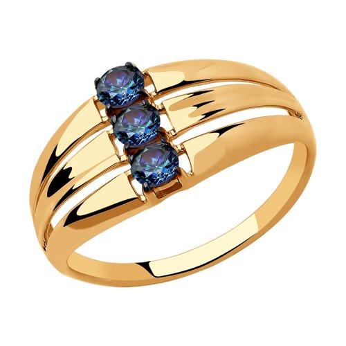 Кольцо из золота с синими Swarovski Zirconia (81010448) - фото