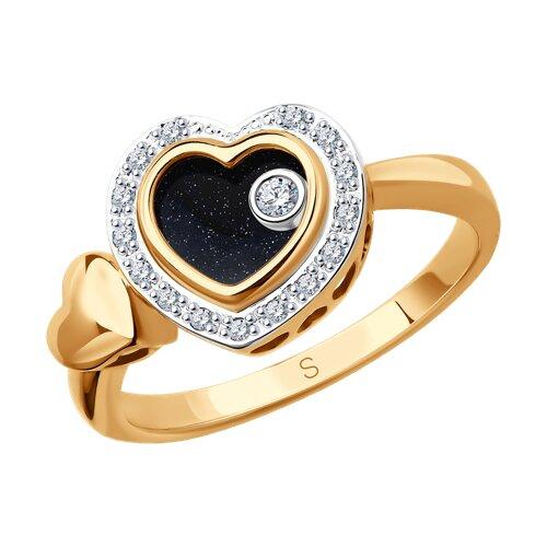 Кольцо из комбинированного золота с миксом камней (1011656) - фото