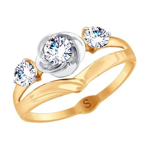 Кольцо из золота с фианитами (017954) - фото