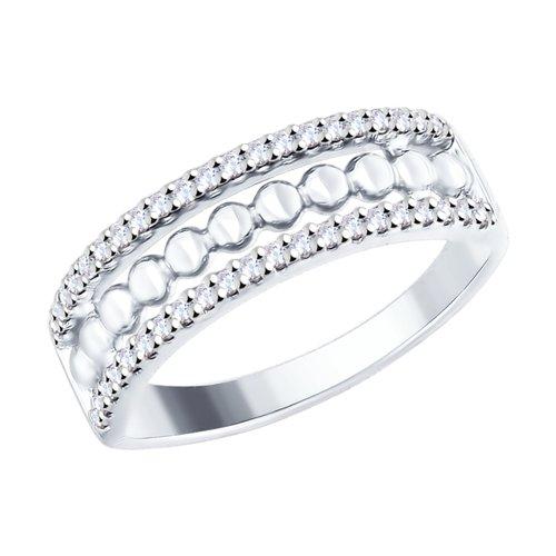 Кольцо из серебра с фианитами (94012445) - фото