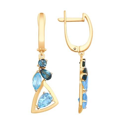 Серьги из золота с голубыми и синими топазами (725584) - фото