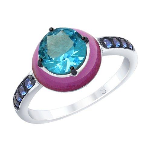Кольцо из серебра с эмалью с синим ситаллом и синими фианитами (92011693) - фото