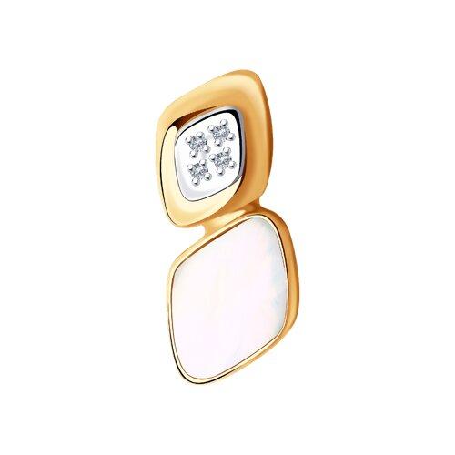 Подвеска из золота с бриллиантами и дуплетом из натурального кварца и перламутра