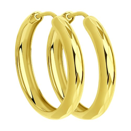 Серьги из желтого золота с алмазной гранью