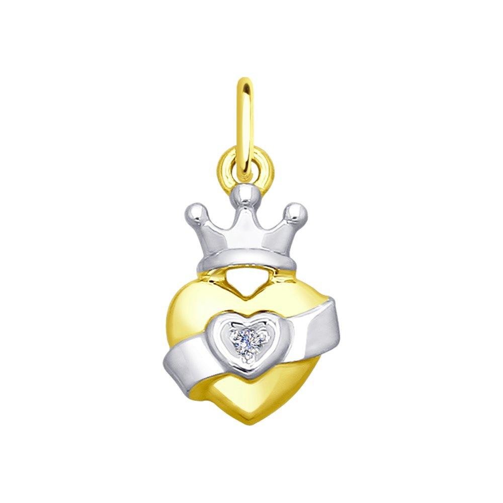 цена на Подвеска «Сердце» SOKOLOV из желтого золота с бриллиантом