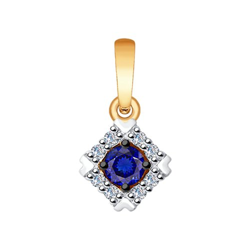 Подвеска из золота с бриллиантами и синим корундом (синт.)