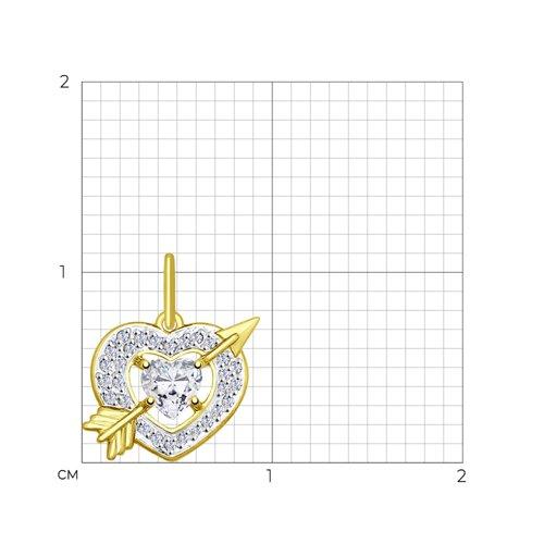 Подвеска из желтого золота с фианитами (035173-2) - фото №2