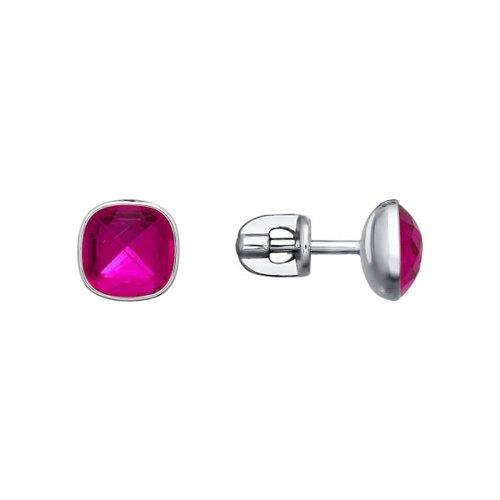 Серьги-пусеты с розовым камнем