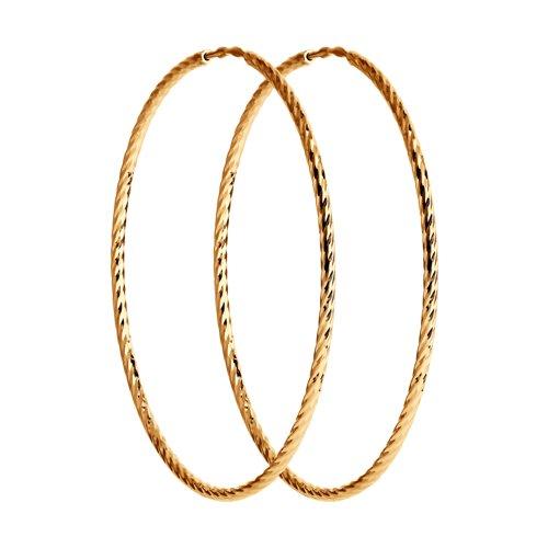 Серьги конго из золота с алмазной гранью (140148) - фото