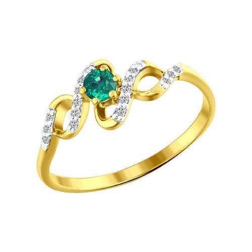 Фото - Кольцо SOKOLOV из жёлтого золота с бриллиантами и изумрудом кольцо с раухтопазами перидотами и бриллиантами из жёлтого золота