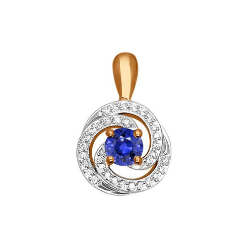 Подвеска из золота с бриллиантами и сапфиром