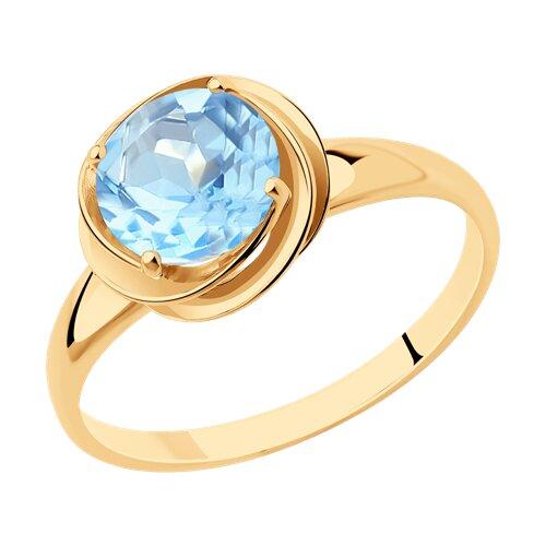 Кольцо из золота с голубым топазом (714506) - фото