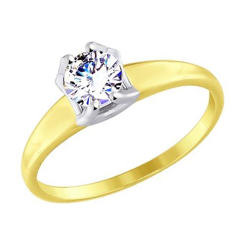 Кольцо из желтого золота с фианитом (017523-2) - фото