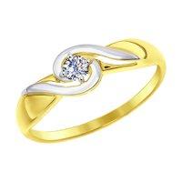 Кольцо из желтого золота со Swarovski Zirconia