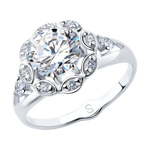 Кольцо из серебра с фианитами (94012758) - фото