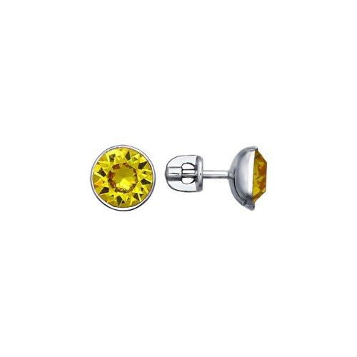Серьги-пусеты из серебра с жёлтыми кристаллами swarovski