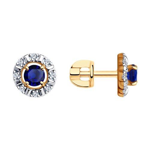 Серьги из золота с синими корунд (синт.) и фианитами (725778) - фото