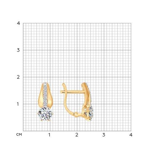 Серьги из золота со Swarovski Zirconia (81020207) - фото №2