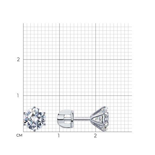 Серьги из белого золота с фианитами (026702-3) - фото №2