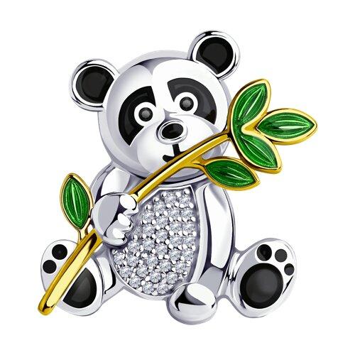 Брошь из золочёного серебра с эмалью и фианитами 94040176