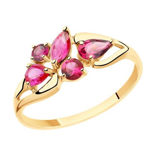 Кольцо из золота с родолитами и красными корундами (715465) - фото