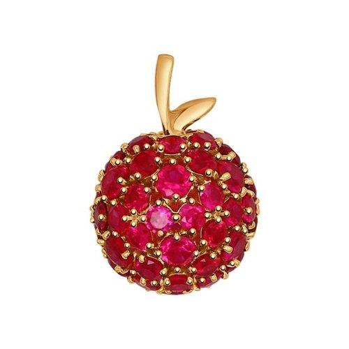 Подвеска из золота с корундами рубиновыми (синт.)